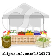 Clipart Of A Farmers Market Produce Vendor Stand Royalty Free Vector Illustration