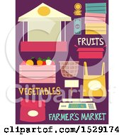 Fruit Stand Produce For Sale Wooden Cart Bag Weighing Scale And Basket Farmers Market Designs On Purple