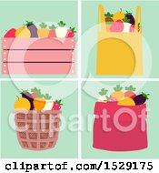 Fruits And Vegetables In A Wooden Crate Bag Basket And Sack