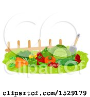 Poster, Art Print Of Fresh Harvested Produce With A Shovel By A Fence