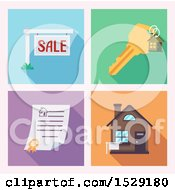Clipart Of Real Estate Icons Of A For Sale Sign Key Deed And House Royalty Free Vector Illustration