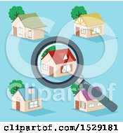 Magnifying Glass Over A House In A Neighborhood On Blue