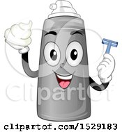 Clipart Of A Shaving Cream Character Holding A Razor Royalty Free Vector Illustration