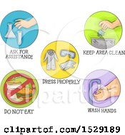 Round Colorful Safety Icons In The Laboratory Wash Hands Dress Properly And Ask For Assistance