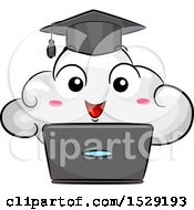 Clipart Of A Cloud Graduate Character Over A Laptop Royalty Free Vector Illustration