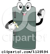 Clipart Of A Chalkboard Refrigerator Character Holding An Eraser And Chalk Royalty Free Vector Illustration by BNP Design Studio