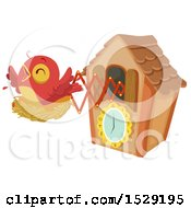 Clipart Of A Red Bird On A Nest Popping Out Of A Cuckoo Clock Royalty Free Vector Illustration