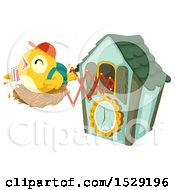 Clipart Of A Student Bird On A Nest Popping Out Of A Cuckoo Clock Royalty Free Vector Illustration
