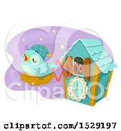 Clipart Of A Sleepy Bird On A Nest Popping Out Of A Cuckoo Clock Royalty Free Vector Illustration