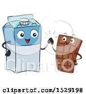 Clipart Of A Milk Carton Character And Chocolate Bar Giving A High Five Royalty Free Vector Illustration