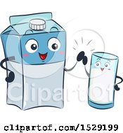 Clipart Of A Milk Carton Character And Glass Giving A High Five Royalty Free Vector Illustration