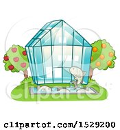 Greenhouse With Orchard Trees And Farmed Fish