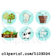 Fruit Tree Fish Bee Harvest Cow And Greenhouse Agriculture Icons