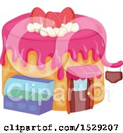Clipart Of A Caked Shaped Bakery Or Cafe Royalty Free Vector Illustration