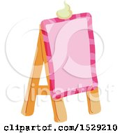 Clipart Of A Pink Sweet Sandwich Board Royalty Free Vector Illustration