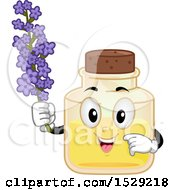 Lavender Essential Oil Bottle Character Holding Flowers
