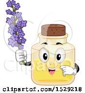Lavender Essential Oil Bottle Character Holding Flowers
