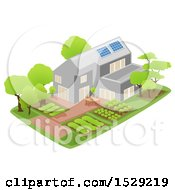 Poster, Art Print Of Sustainable Home With Solar Panels And A Garden