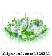 Clipart Of A Sustainable City With Roof Top Gardens Green Houses And Parks Royalty Free Vector Illustration