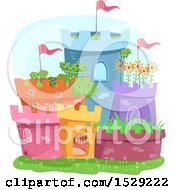 Clipart Of A Colorful Garden Castle Made Of Pots Royalty Free Vector Illustration