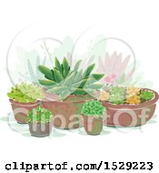 Clipart Of A Succulent Garden Royalty Free Vector Illustration