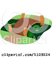 Clipart Of A Foot Bridge Over A Pond Royalty Free Vector Illustration by BNP Design Studio