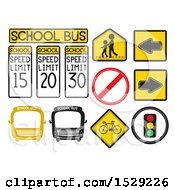 Clipart Of School Transportation Warning Signs Of A Bus Arrow Stop Speed Limit Pedestrian Lane Traffic Signal And Bike Royalty Free Vector Illustration