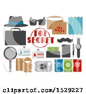 Poster, Art Print Of Secret Agent Party Designs Elements Of A Hat Envelope Fake Passport Mustache And Map