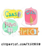 Clipart Of Cans Glass Papers And Plastic Recycling Labels Royalty Free Vector Illustration
