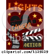 Clipart Of Lights Camera And Action Movie Filming Studio Icons Royalty Free Vector Illustration by BNP Design Studio
