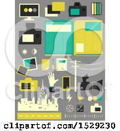 Clipart Of Camera City And Road Journalisim Icons On A Gray Background Royalty Free Vector Illustration