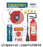 Clipart Of A Fire Alarm Fire Extinguisher Fire Hose And Sprinkler Royalty Free Vector Illustration