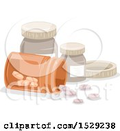 Clipart Of A Spilling Bottle Of Pills Royalty Free Vector Illustration