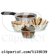 Clipart Of A Pot Of Mud And Ingredients For Mud Pies Royalty Free Vector Illustration