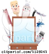Clipart Of A Barber Shop Mirror With Happy Utensil Characters Royalty Free Vector Illustration