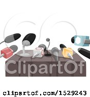 Clipart Of A Table Set Up With Microphones For A Press Release Or Interview Royalty Free Vector Illustration