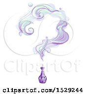 Clipart Of A Vintage Purple Bottle With Smoke Forming A Question Mark Royalty Free Vector Illustration by BNP Design Studio