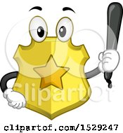 Clipart Of A Police Badge Character Holding A Baton Royalty Free Vector Illustration