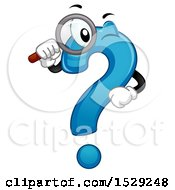 Blue Question Mark Character Using A Magnifying Glass