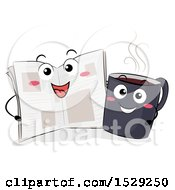 Clipart Of Newspaper And Coffee Characters Side By Side Royalty Free Vector Illustration by BNP Design Studio