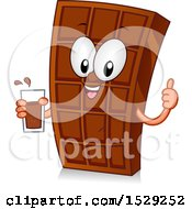 Clipart Of A Chocolate Bar Character Holding A Beverage Royalty Free Vector Illustration