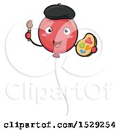 Balloon Artist Character Holding A Paintbrush And Palette