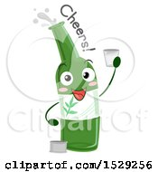 Clipart Of A Soju Bottle Character Holding A Shot Glass And Saying Cheers Royalty Free Vector Illustration by BNP Design Studio