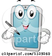 Clipart Of A Tablet Computer Character Holding A Stylus Royalty Free Vector Illustration