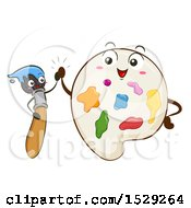 Clipart Of Paintbrush And Palette Characters Giving A High Five Royalty Free Vector Illustration by BNP Design Studio