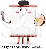 Happy Artist Canvas Character On An Easel