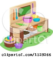 Clipart Of A Wooden Outdoor Mud Kitchen Royalty Free Vector Illustration