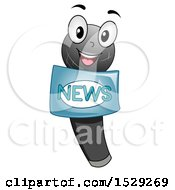 Clipart Of A Microphone Character With A News Label Royalty Free Vector Illustration