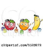 Clipart Of A Happy Apple Orange And Banana With Paint Royalty Free Vector Illustration