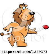 Clipart Of A Male Lion Playing Cornhole Bean Bag Toss Royalty Free Vector Illustration